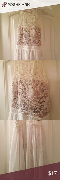 MORGAN & CO Juniors Sequins White/Nude Dress - 9 Morgan & Co. Juniors' Sequined Lace Flare Dress 9/10, White/Nude - Preowned Morgan & Co Dresses