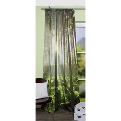This modern tieback curtain made of light-blocking fabric has a stunning digital print of a lush forest. This type of digital printing is a special and complex method applied to the high-grade fabric that results in extraordinarily rich colours.
