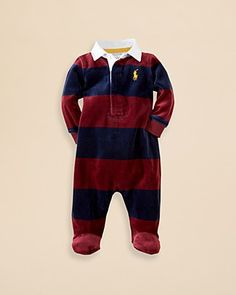 Ralph Lauren Childrenswear Infant Boys' Velour Stripe Rugby Coverall - Sizes 3-9 Months | Bloomingdale's