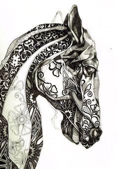 Zen doodle Horse, quilting inspiration.