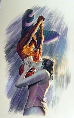alexhchung: Spider-Man & Mary Jane by Alex Ross Please go. - visit to grab an unforgettable cool Super Hero T-Shirt! Spiderman 2, Stan Lee Spiderman, Amazing Spiderman, Hq Marvel, Marvel Heroes, Marvel Movies, Alex Ross, Spider Man Trilogy, Batman Love