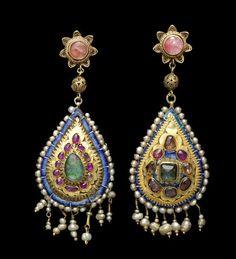 pr of earrings Persian 19th c c/o Bonhams