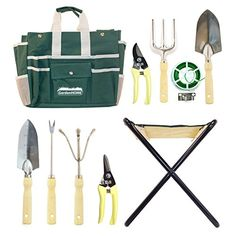 GardenHOME 10 Piece Garden Tool Set with Folding Stool and Heavy Duty Steel Tools