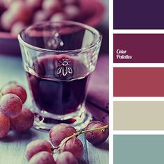Dark and smoky shades of black currant and red grapes are combined interestingly with light muted gray-blue and gray-beige. The color scheme is suitable fo.