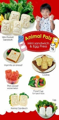 CuteZcute Animal Palz Mini Sandwich and Egg Press - Fondant Cutter, Sandwich Maker, Egg Mold.