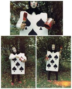 My late aunt's creative Halloween costume - dressed as a Playing Card from Alice in Wonderland in the early 60s. - Imgur