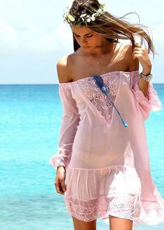 Lace Barthelemy Rose Dress — Roses and Dreams French Boutique Miami Beach Ibiza Fashion, I Love Fashion, Fashion Beauty, Bohemian Mode, Bohemian Style, Boho Chic, French Boutique, French Outfit, Womens Fashion Stores