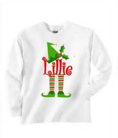 Childrens christmas shirt, youth elf shirt, personalized christmas shirt by Baileywicks on Etsy https://www.etsy.com/listing/209376469/childrens-christmas-shirt-youth-elf