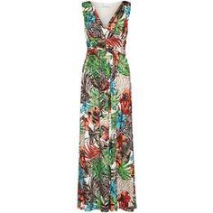 Gina Bacconi Tropical Metallic Print Jersey Maxi Dress, Multi