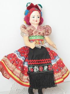 Vintage Costume doll Hungarian girl folk costume by ExclusiveFinds Folk Art, Hungarian Girls, Folk Clothing, Minden, Barbie Collector, Folk Costume, Budapest Hungary, Vintage Costumes, Pin Cushions