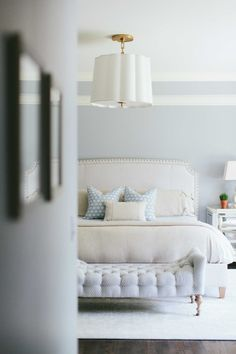 Neutral bedroom with touches of blue. Like the vibe.