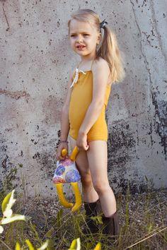 Baby/girl deep yellow retro style swimsuit with cream white bow/vintage inspired baby swimwear