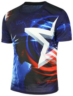 American Flag Statue of Liberty Printed T-Shirt