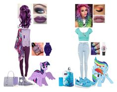 """""""My Little Pony Inspired Outfits #1: Twilight Sparkle and Rainbow Dash"""" by nikkie-fen ❤ liked on Polyvore"""