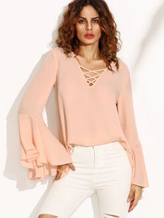 Shop Pink Crisscross V Neck Bell Sleeve Split Back Blouse online. SheIn offers Pink Crisscross V Neck Bell Sleeve Split Back Blouse & more to fit your fashionable needs. Casual Outfits, Fashion Outfits, Womens Fashion, Top Chic, Frill Tops, Beautiful Blouses, Blouse Online, Bell Sleeves, Clothes For Women