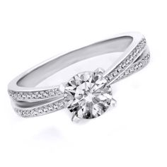 0.30ct D/ VVS1 Semi Mount Engagement Ring Round Cut  White Gold Bridal Jewelry #Affinityhomeshoping #SolitairewithAccents