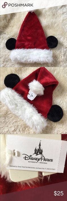 NEW Mickey Mouse Santa Hat New With Tags. An official Disney Parks Mickey Mouse Santa Hat. It features Mickey ears and an adjustable interior Velcro strap. One size. Adult. Red and white with black ears. Super cute and perfect for Christmas and the holidays. Disney Accessories Hats