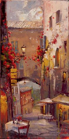 Cafe Sienna, 24 X 18 Limited Edition by Steven Quartly Painting Inspiration, Art Inspo, Landscape Paintings, Watercolor Paintings, Online Painting, Large Art, Beautiful Artwork, Oeuvre D'art, Monuments