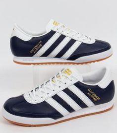Adidas-Beckenbauer Navy Blue Leather/White stripes