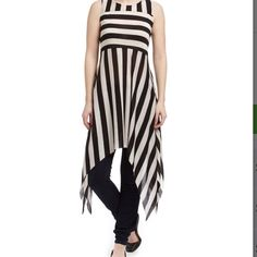 NWOT. Striped Assymetrical Dress Cute unlined Assymetrical hem dress. Very soft and lightweight material. Stretchy.  Came in mail wrapped in plastic so did not have tags. Is brand new. Very chic. Dresses Asymmetrical