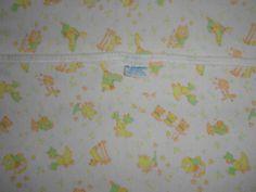 1970's Carters Vintage Baby Blanket Mother Goose Nursery Rhyme Print White Receiving
