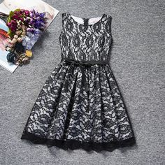 Fashion Flower Lace Dress For Kids 4 to 10 Years Summer Party Dress-FREE SHIPPING