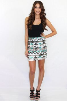 The Takeover Aztec Sequin Skirt – The Laguna Room