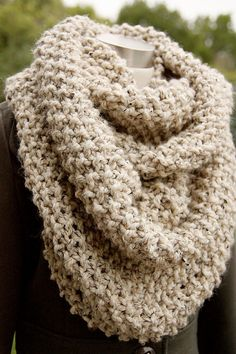Oversized Oatmeal Cream Cowl, Knit Chunky Infinity Scarf, Neck Warmer, Off White Womens Accessories