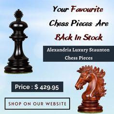 """Alexandria Luxury Staunton Chess Pieces-Triple Weighted The king Height of this chess set 4.4"""" and base size is 1.9"""" The material used is Genuine Ebony wood and Bud Rosewood. Each piece is lovingly hand carved and turned by our master carvers to create a heirloom quality masterpiece. ✓ Worldwide Shipping. Wood Chess Board, Chess Pieces, Alexandria, Bud, Hand Carved, Carving, Luxury, Mall, King"""