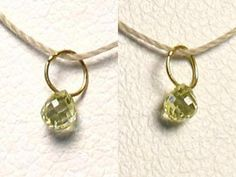 One bead of NATURAL Canary CONFLICT FREE Diamond 18K GOLD PENDANT .22 cts 8798M - Premium Bead