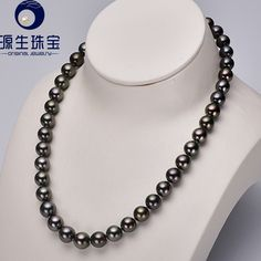 """Aliexpress.com : Buy 17.52"""" Long Tahitian Black Pearl Necklace Genuine 9.1 10.8mm Saltwater Black Pearls with S925 Silver Clasp 14D1NG  from Reliable necklace picture suppliers on pearls by yuansheng"""