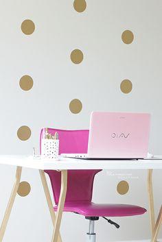 Beauty Room Progress – Gold Polka Dots Accent Wall by bebedollxoxo, via Flickr