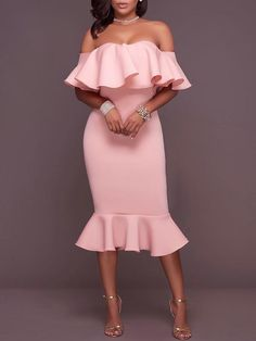 Elegant Women Frilled Off Shoulder Bodycon Dress