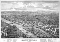 Artist's aerial view of Salem, Oregon - 1876