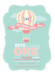 Balloon First Birthday Invitation Printable by ScissorsPaperPrint