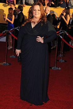 Melissa McCarthy, in Badgley Mischka with Neil Lane jewels and a Badgley Mischka clutch.