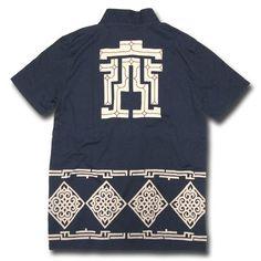 アイヌ文様 着物衿 半袖Tシャツ【紺】:オスティア・ジャパン衣