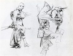 Two studies for soldiers of Gassed - John Singer Sargent - Completion Date: c. 1918 - charcoal