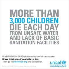 The solutions exist. It can be done. We BELIEVE IN ZERO children deprived of clean water. Repin if you believe, too.