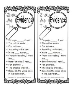 Show me the Evidence sentence starters.  Put in writing notebooks as a reminder.  This site (Oscar Learn, Oscar Teach!) has lots of great stuff!: