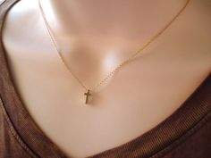 This10mm tiny and dainty celebrity inspired cross necklace is perfect for your everyday, birthday gift and bridesmaid gift.    * I ship in 1- 3
