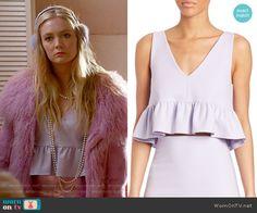 Chanel 3's purple ruffled crop top on Scream Queens.  Outfit Details: https://wornontv.net/60997/ #ScreamQueens