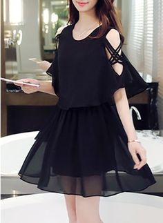 Chiffon Solid Half Sleeve Above Knee Casual Dresses Simple Dresses, Pretty Dresses, Beautiful Dresses, Casual Dresses, Short Dresses, Fashion Dresses, Girly Outfits, Chic Outfits, Cute Fashion