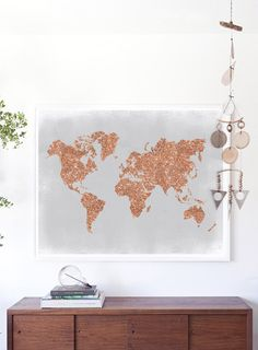 Copper Wall Art Rose Gold World Map Poster by PrintasticStudio