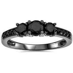 Bliss Diamond 1 1/5 CT ($395) ❤ liked on Polyvore featuring jewelry, rings, black, jewelry & watches, diamond jewellery, kohl jewelry, black diamond jewellery, black diamond ring and diamond rings