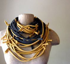 Statement EcoShag Scarf Necklace - Mustard Yellow Charcoal Gray Upcycled Cotton Jersey Scarf