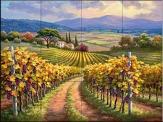 Vineyard Hill I - Kitchen backsplash / Bathroom wall tile mural