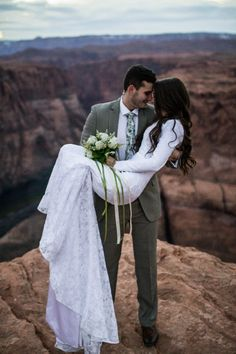 This couple got engaged at the Grand Canyon, and they even took bridal photos there.
