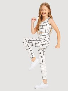 Outfits for kids Girls Grid Tank Top & Pants Set Girls Grid Tank Top & Hosen Set Back To School Outfits For Kids, Kids Outfits Girls, Cute Girl Outfits, Cute Casual Outfits, Cute Summer Outfits, Kids Girls, Winter Outfits, Girls Fashion Clothes, Tween Fashion