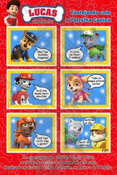 Convites Patrulha Canina gibi vermelho Paw Patrol, Comics, Birthday, Party, Kids, Yuri, 1, Paw Patrol Decorations, Young Children